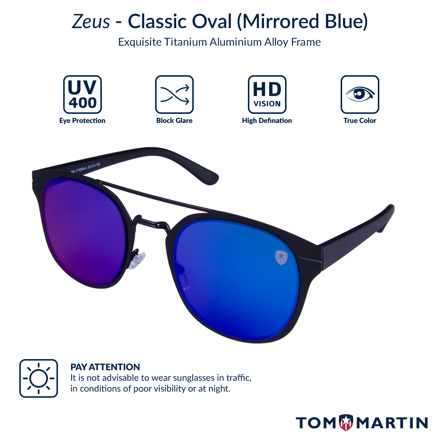 598c1f104de Zeus - Mirrored Blue Sunglasses for Women