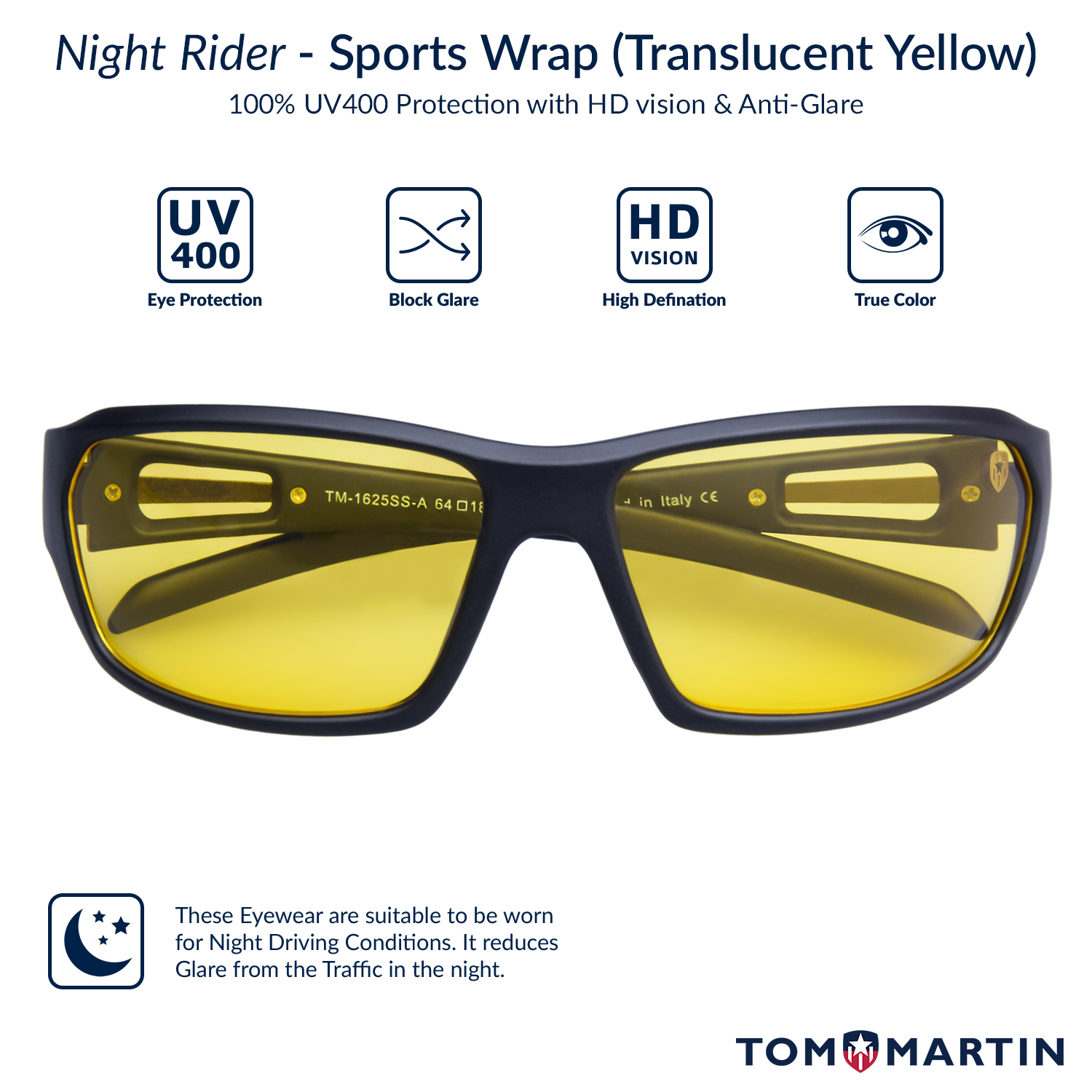 5483183bf15 Buy Hector - Night Driving - Translucent Yellow Lens Sunglasses for ...