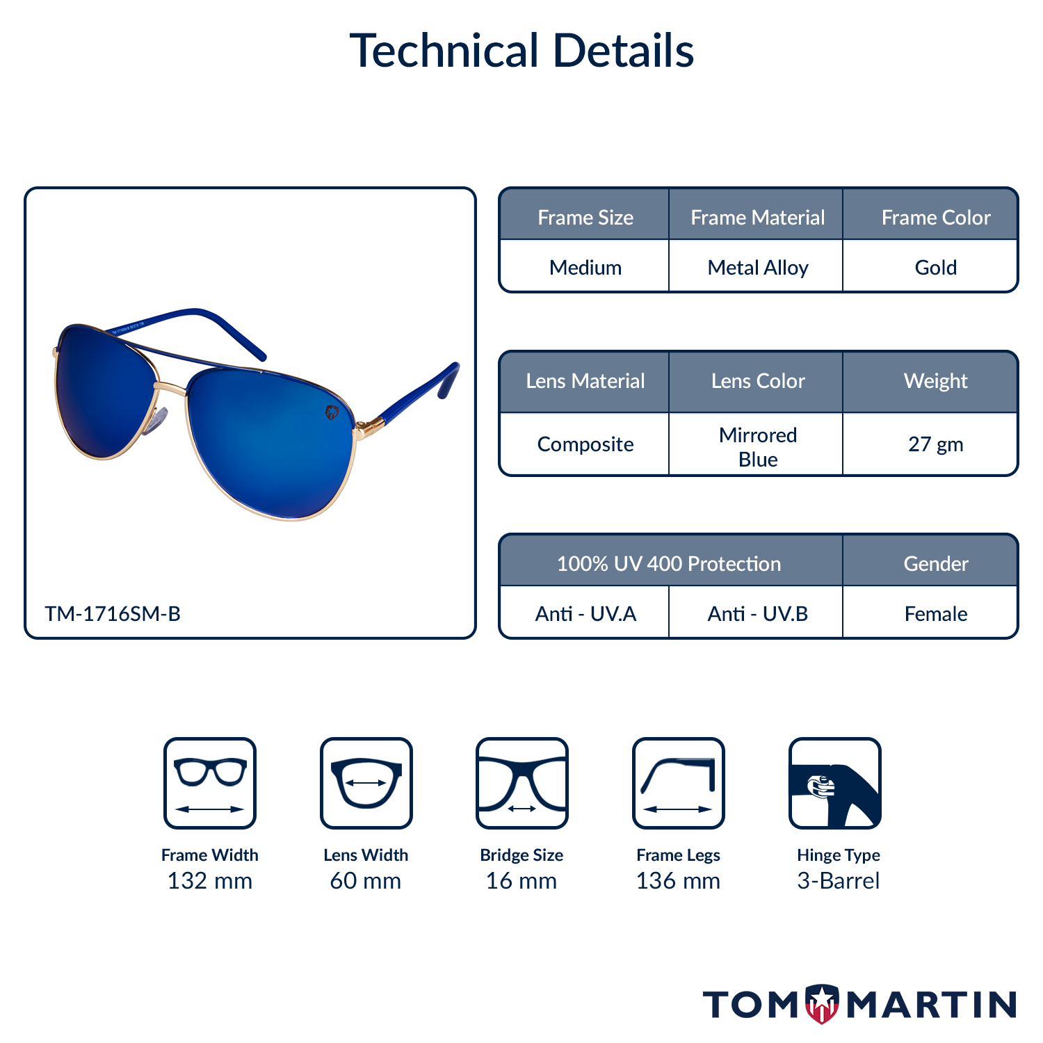 2ff04b7afff7d Buy Michelle - Mirrored Blue- Sunglasses for Women - Tom Martin